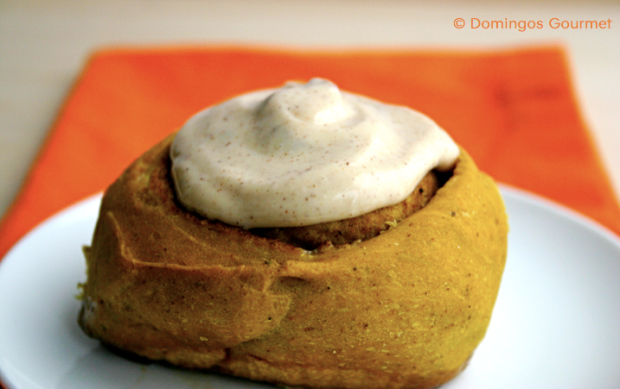 Pumpkin Cinnamon Roll with frosting